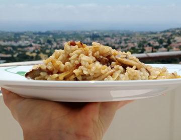 Рис с шампиньонами и луком