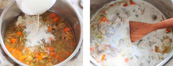 Этапы приготовления супа с грибами